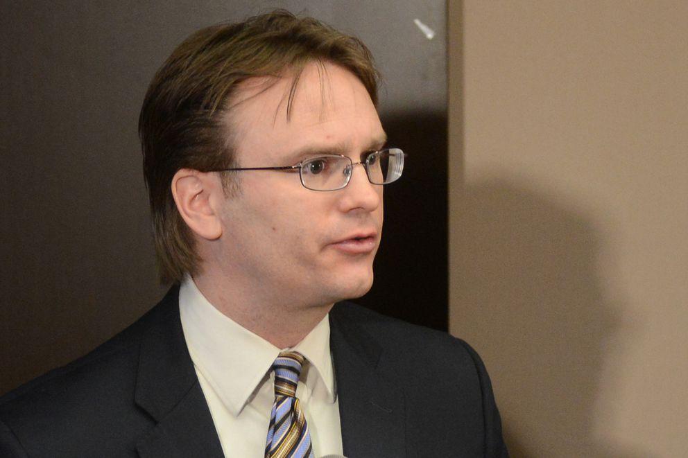 Criminal Division director John Skidmore ata press conference in 2016 (Erik Hill / Alaska Dispatch News)