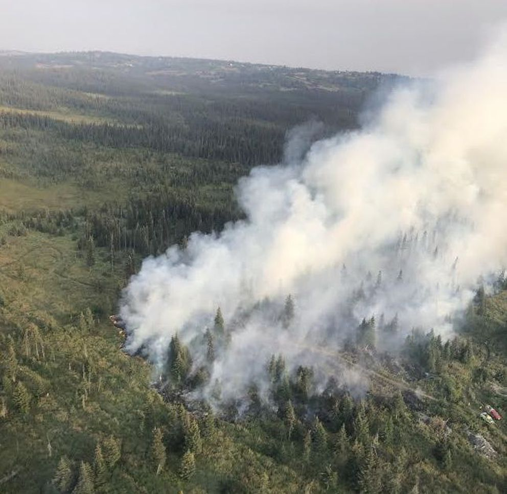 The North Fork Road Fire was burning Sunday, Aug. 18, 2019, about 1.5 miles east of the Sterling Highway between Mile 165 and 164. (Alaska Division of Forestry)