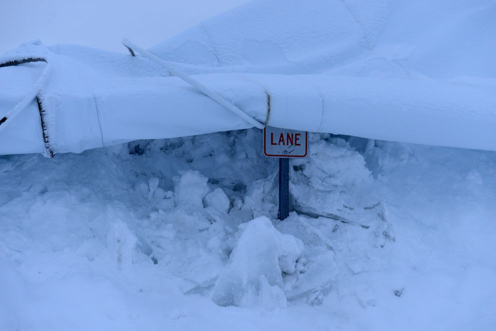 The roof the The Dome collapsed under a load of snow Saturday night. (Bob Hallinen / Alaska Dispatch News)