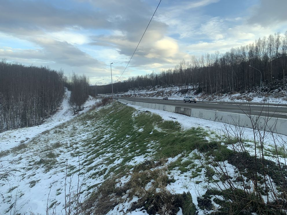 The Glenn Highway near the Mirror Lake exit on Nov. 22, 2019. The section of road sloughed off and had to be repaired following the Nov. 30, 2018 earthquake. (Matt Tunseth / Chugiak-Eagle River Star)
