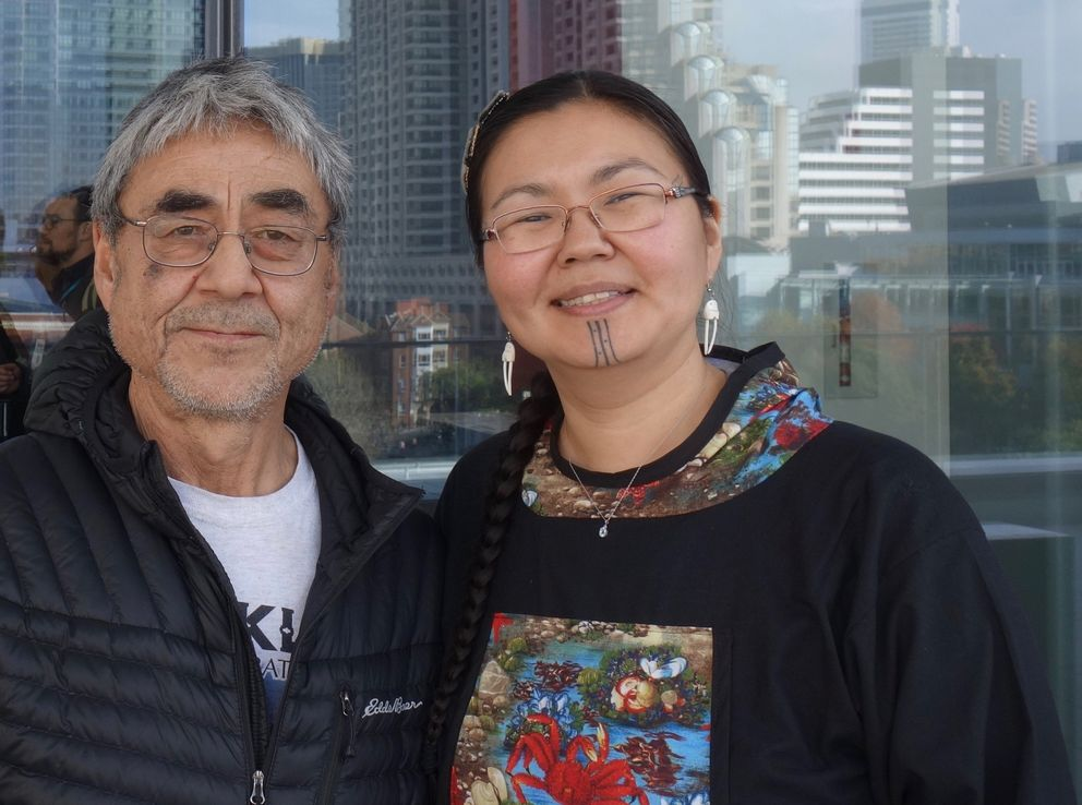 Jerry Ivanoff from Unalakleet and Mellisa Johnson of Anchorage and Nome, photographed outside the Moscone Center in downtown San Francisco. They traveled to the Fall Meeting of the American Geophysical Union at the invitation of scientists who wrote the 2019 Arctic Report Card. (Ned Rozell)