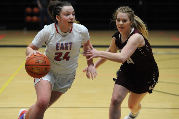 The East High Thunderbirds defeated Ketchikan 60-48 in the opening round of the Girls 4A state basketball tournament at the Alaska Airlines Center on Thursday, March 22, 2018. (Bill Roth / ADN)