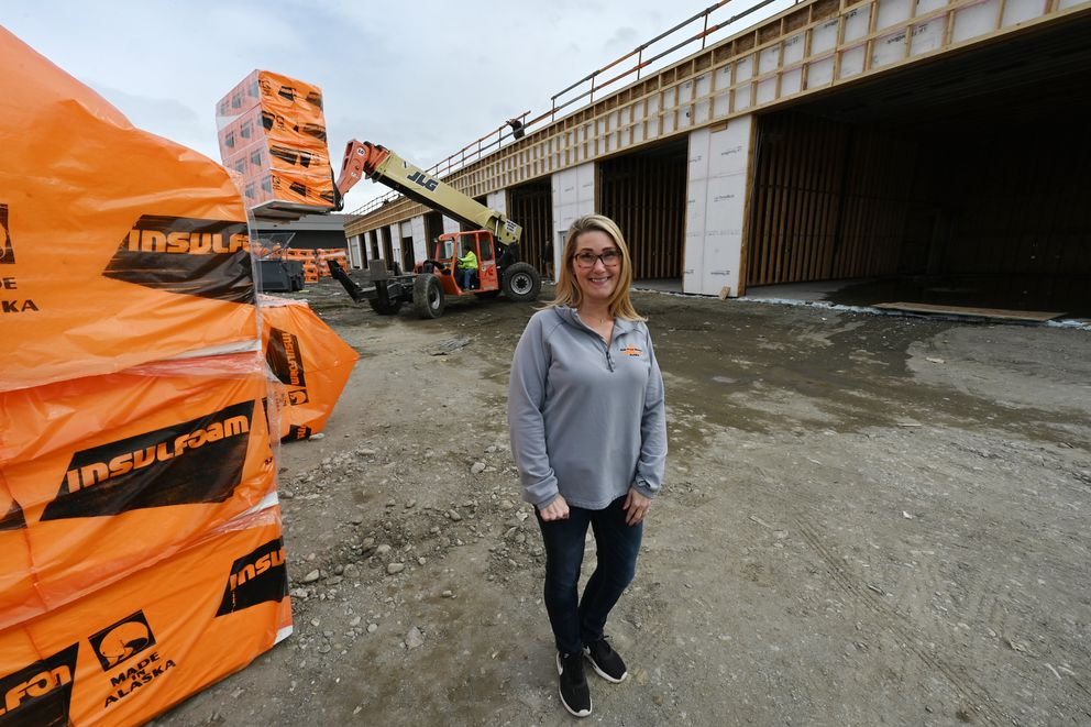 Rain Proof Roofing co-owner Misty Stoddard at The Garage at Huffman in South Anchorage on Monday, May 3, 2021. 'We don't have as many applicants as normal for the construction season, ' said Stoddard. (Bill Roth / ADN)
