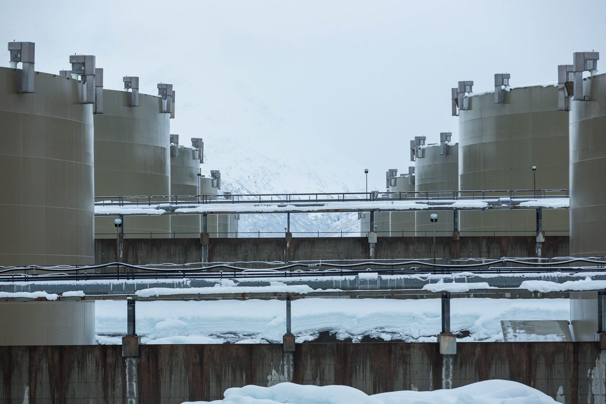 Crude oil storage tanks in the Valdez Marine Terminal's East Tank Farm, photographed on Feb. 15, 2016. A watchdog group for Prince William Sound is concerned about holes and cracks discovered in a spill-containment liner beneath the 14 operational storage tanks at the East Tank Farm. (Loren Holmes / Alaska Dispatch News)