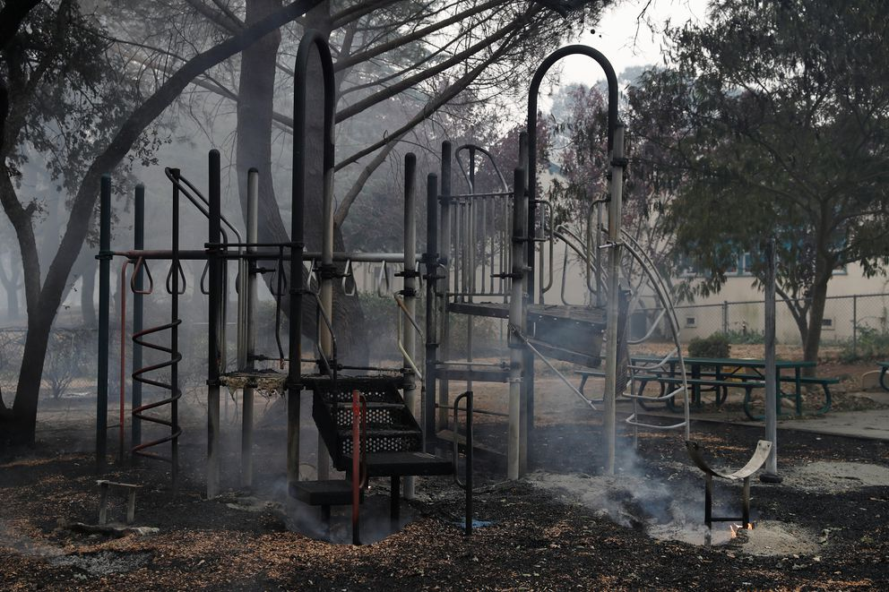 A playground in front of Dunbar Elementary School during the Nuns Fire in Sonoma.REUTERS/Stephen Lam