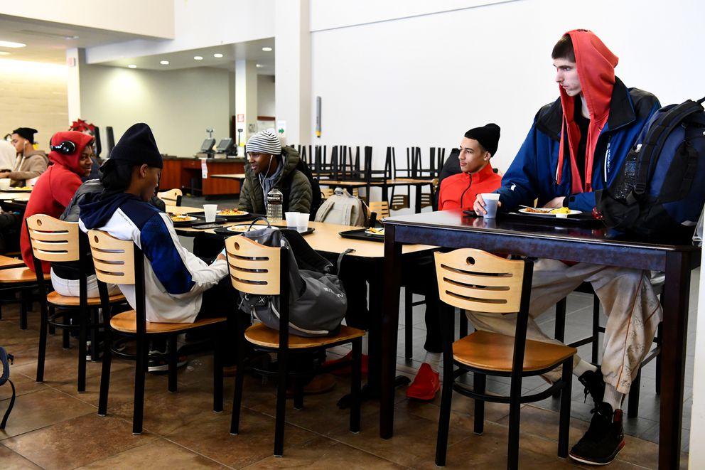 Robert Bobroczkyi eats breakfast with teammates at a special table in the cafeteria at SPIRE Institute in Geneva, Ohio. Washington Post photo by Katherine Frey