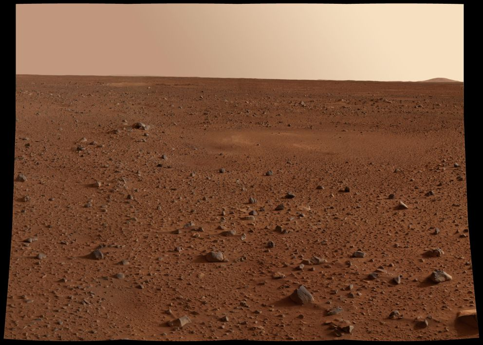 A Martian landscape. College students at Villanova University have found that hops, leafy greens, carrots and scallions all could grow in an approximation of Martian dirt. (NASA/JPL/Cornell via The New York Times)