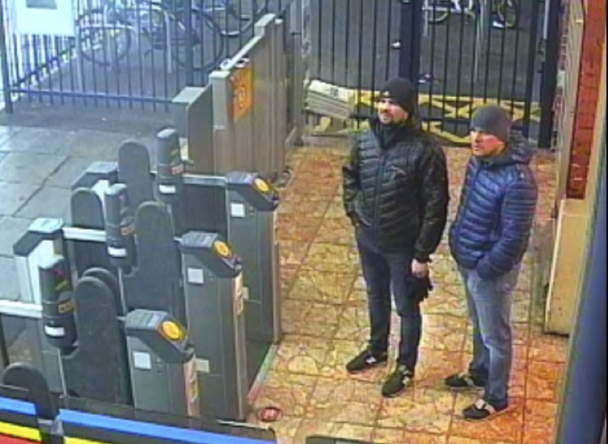 This still taken from CCTV and issued by the Metropolitan Police in London on Wednesday Sept. 5, 2018, shows Ruslan Boshirov and Alexander Petrov at Salisbury train station on March 3, 2018. British prosecutors have charged two Russian men, Alexander Petrov and Ruslan Boshirov, with the nerve agent poisoning of ex-spy Sergei Skripal and his daughter Yulia in the English city of Salisbury. They are charged in absentia with conspiracy to murder, attempted murder and use of the nerve agent Novichok. (Metropolitan Police via AP)