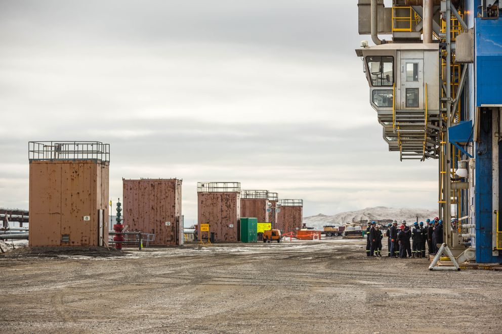 Workers changing shift at BP's Parker Rig 272, which is drilling into the Lisburne Reservoir at drill site L3 in Prudhoe Bay on May 22, 2015. (Loren Holmes / Alaska Dispatch News)