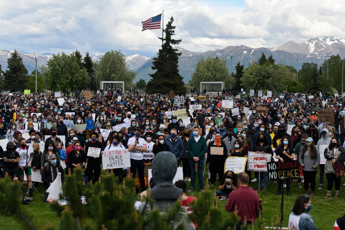 Friday night's protest drew a large crowd to the Martin Luther King memorial on the Delaney Park Strip. Protesters of police brutality rallied on the Delaney Park Strip and marched through the streets of downtown Anchorage on Friday evening, June 5, 2020. (Marc Lester / ADN)