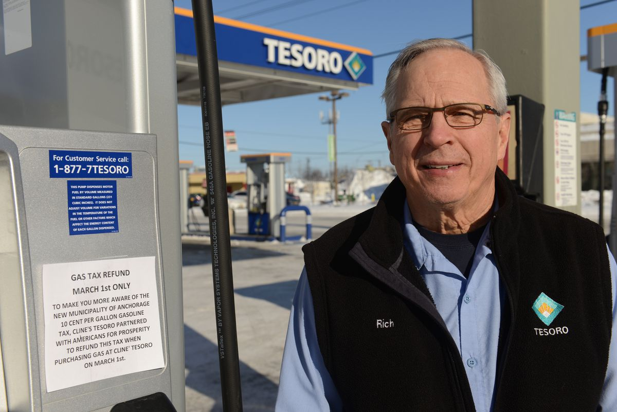 Rich Cline will refund the new 10-cent-per-gallon gas tax that will be implemented on March 1 in Anchorage at Cline's Tesoro on the corner of Gambell Street and Fifth Avenue in conjunction with Americans for Prosperity. (Bob Hallinen / ADN)