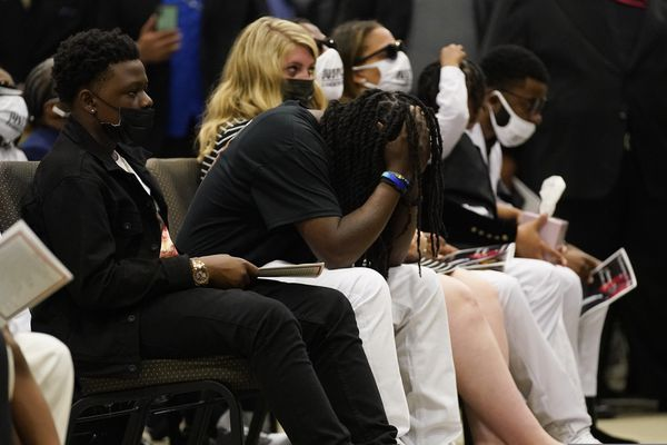 Family members attend the funeral for Andrew Brown Jr., Monday, May 3, 2021 at Fountain of Life Church in Elizabeth City, N.C. Brown was fatally shot by Pasquotank County Sheriff deputies trying to serve a search warrant. (AP Photo/Gerry Broome)