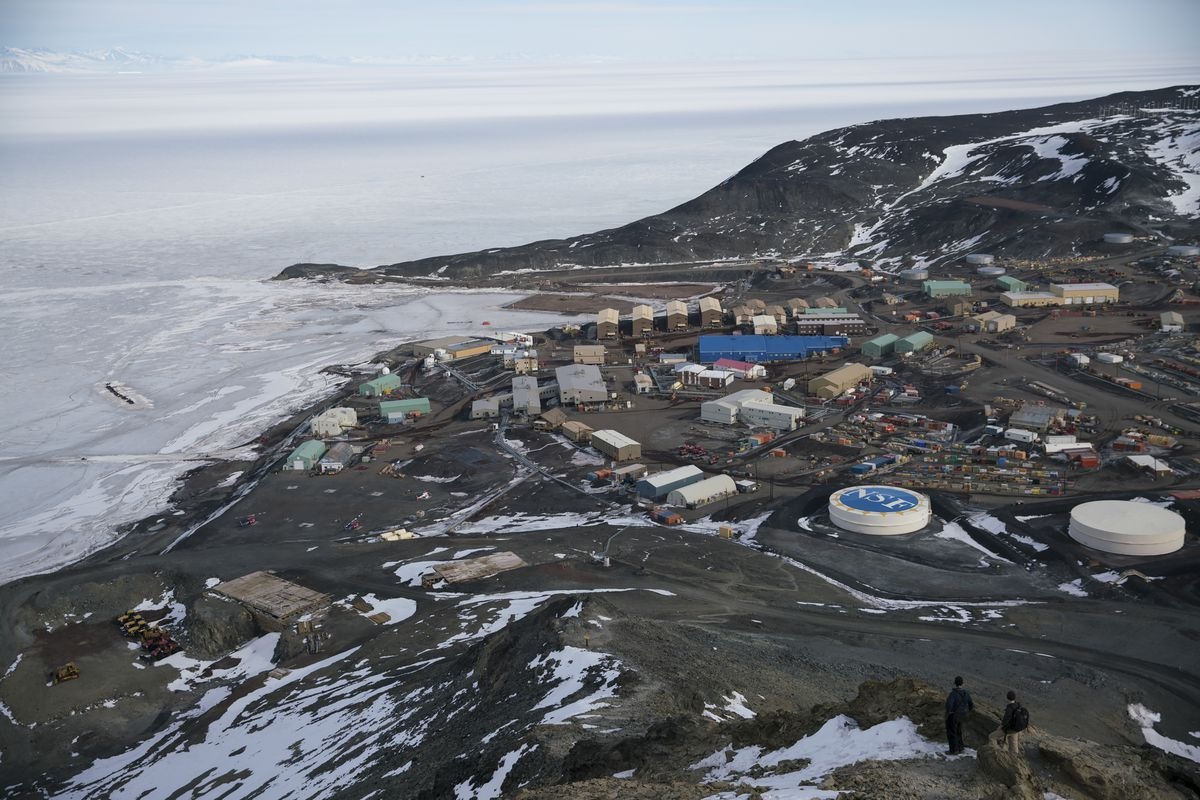 McMurdo Station, seen from Observation Hill in Antarctica, December 2016. (Jonathan Corum/The New York Times)