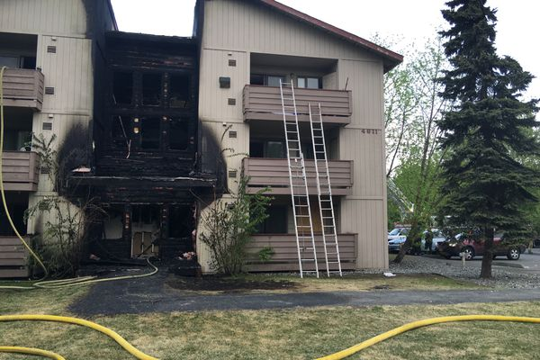 Anchorage police say a man was arrested at the scene of a fire in Midtown Anchorage Tuesday morning after stealing prescription medications from apartments while firefighters battled the blaze.