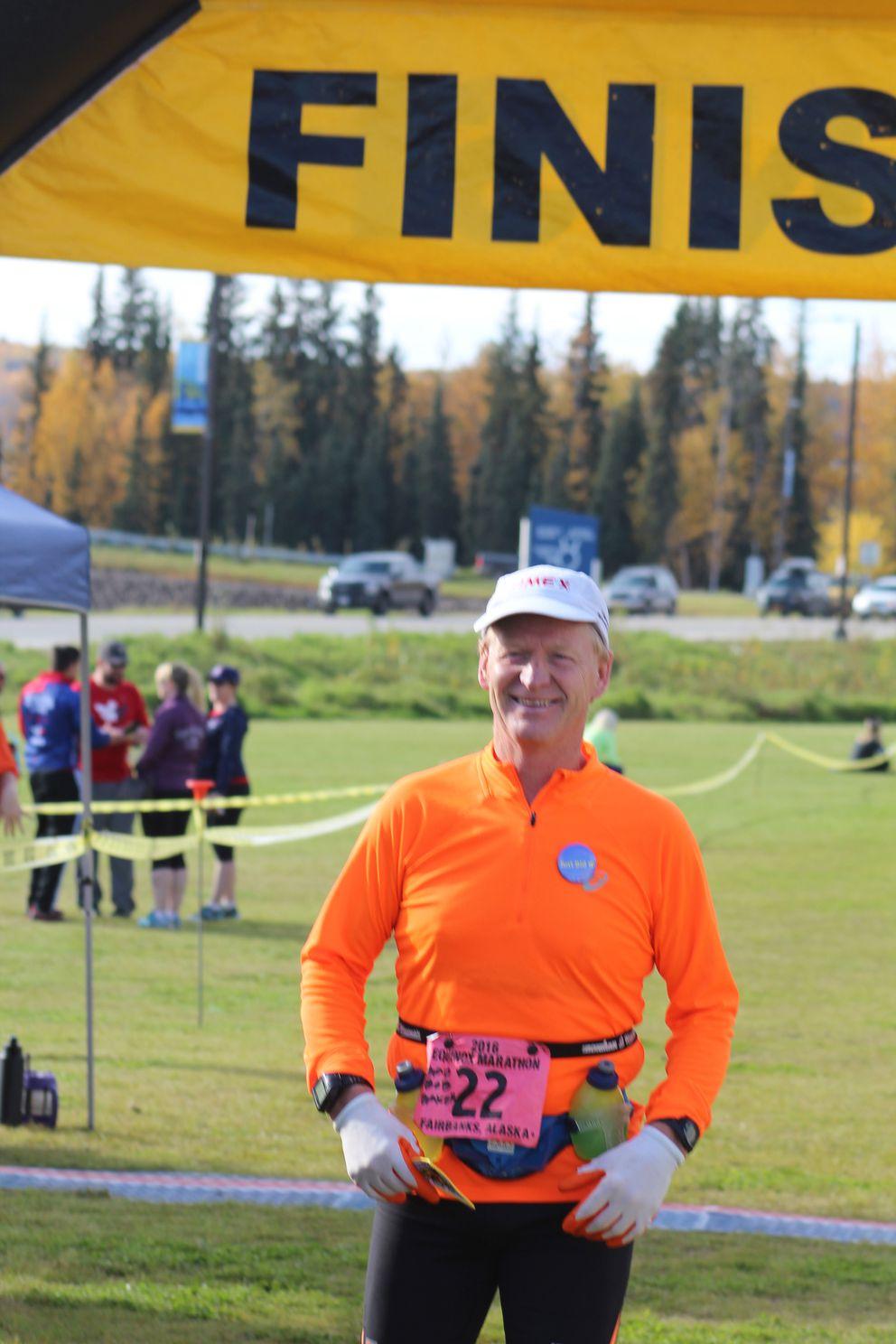 Bob Baker finished the Equinox Marathon Saturday at the University of Alaska Fairbanks. (Dermot Cole / Alaska Dispatch News)