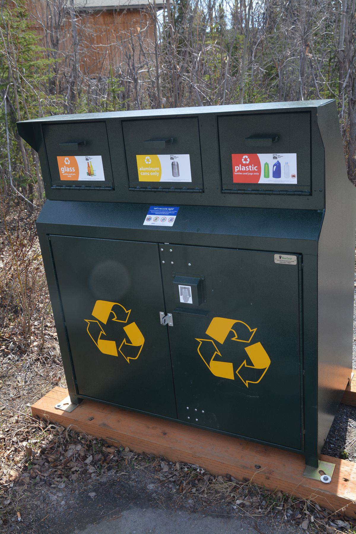 One of Denali National Park's new triple-bin Bear Save recycling containers. (Katherine Belcher/NPS)