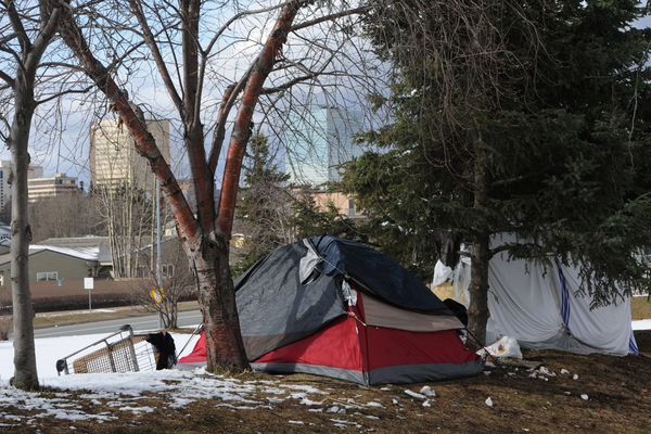 Tents and a shopping cart at a homeless camp along A Street on Tuesday, April 23, 2019. (Bill Roth / ADN)