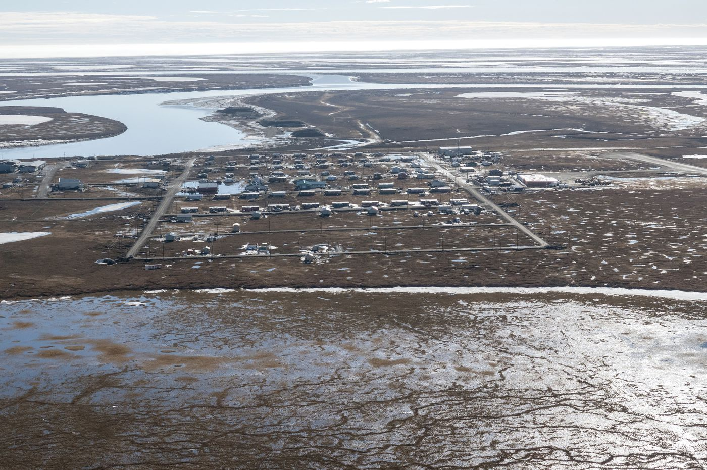 Nuiqsut, resettled in 1973 when 27 families pitched tents by the Colville River, now has roughly 480 residents. (Washington Post photo by Bonnie Jo Mount)