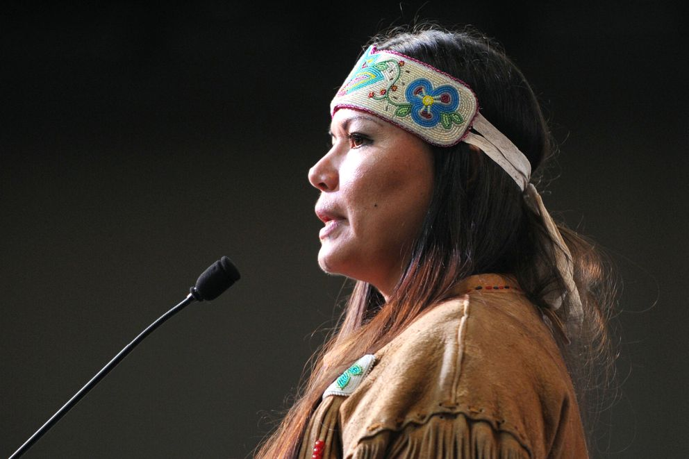 Sergeant Jody Potts, Village Public Safety Officer and Director of Public Safety, Tanana Chiefs Conference, was one of two keynote speakers during the opening of the Alaska Federation of Natives Convention at the Dena'ina Center in Anchorage on Thursday, Oct. 19, 2017. (Bill Roth / Alaska Dispatch News)