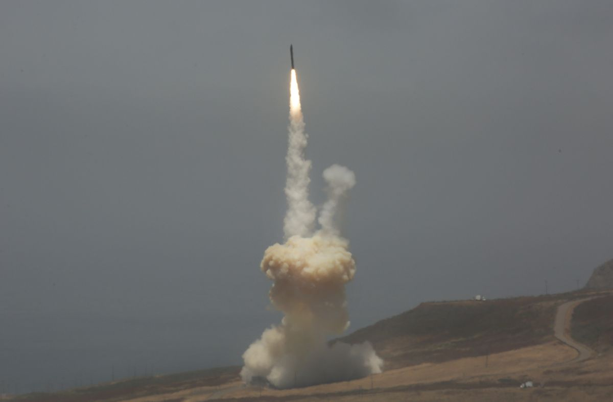 A ground-based interceptor missile is launched from Vandenberg Air Force Base, California, on May 30, 2017. (Al Seib/Los Angeles Times/TNS)