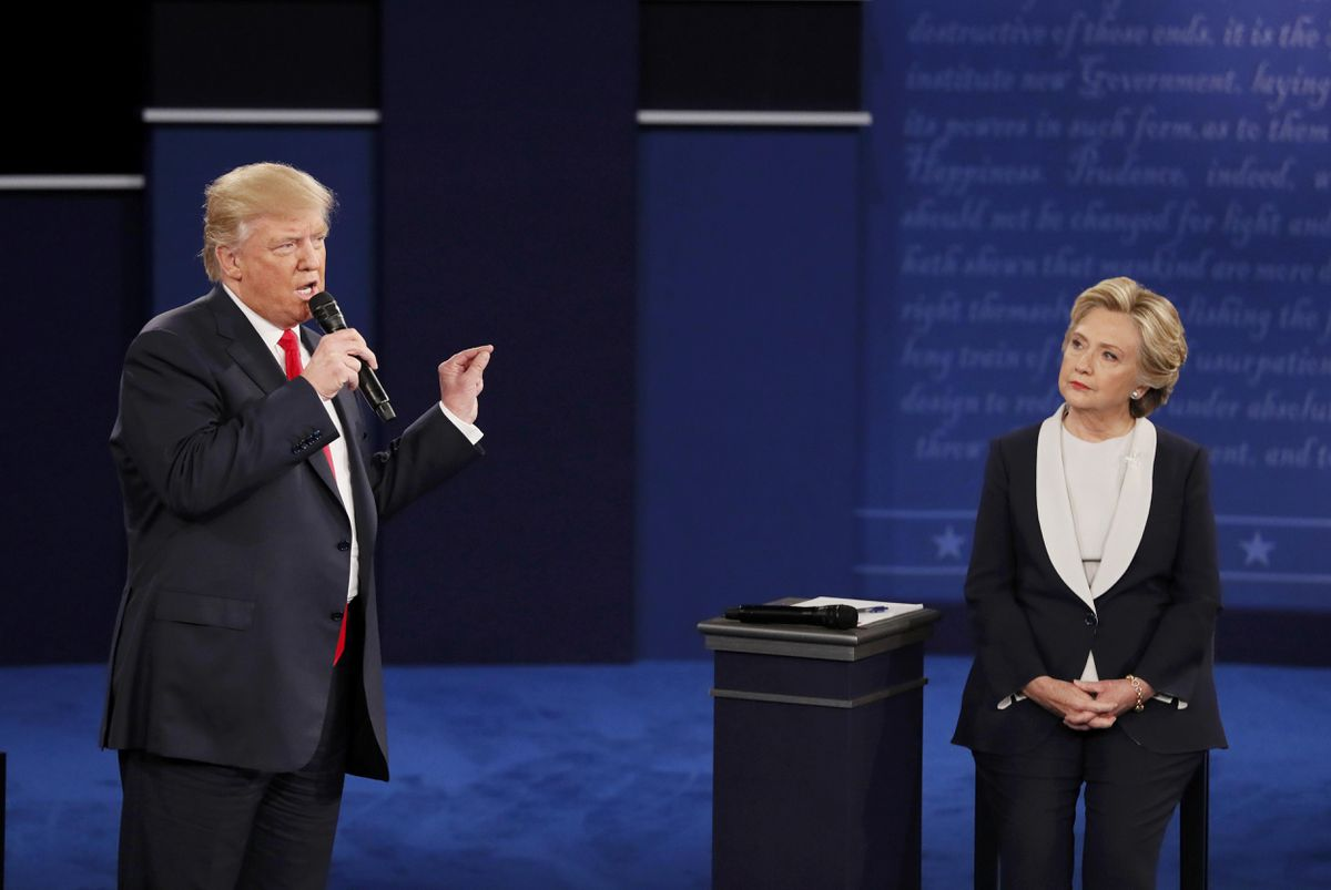 Republican U.S. presidential nominee Donald Trump speaks during their presidential town hall debate with Democratic U.S. presidential nominee Hillary Clinton at Washington University in St. Louis, Missouri, Oct. 9, 2016. (Shannon Stapleton / Reuters)