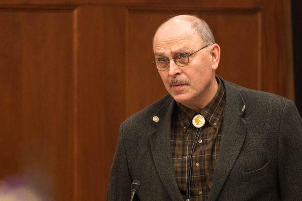 Sen. Click Bishop, R-Fairbanks, speaks during a Senate session Wednesday, Jan. 16, 2019 at the Alaska State Capitol. (Loren Holmes / ADN)