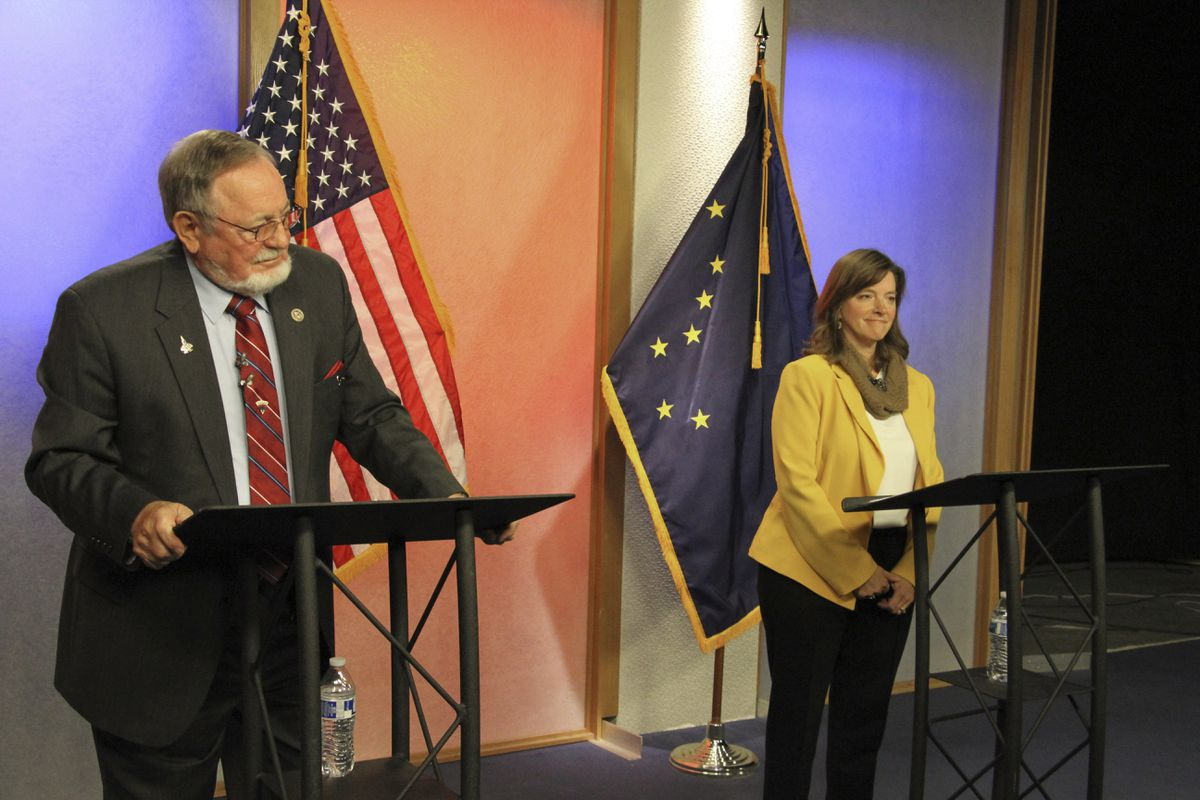 U.S. Rep. Don Young, left, and Alyse Galvin are shown prior to a debate Friday, Oct. 26, 2018, in Anchorage, Alaska. Galvin, an independent who won the Alaska Democratic primary, is again challenging Young, a Republican who is the longest serving member of the House. (AP Photo/Mark Thiessen)