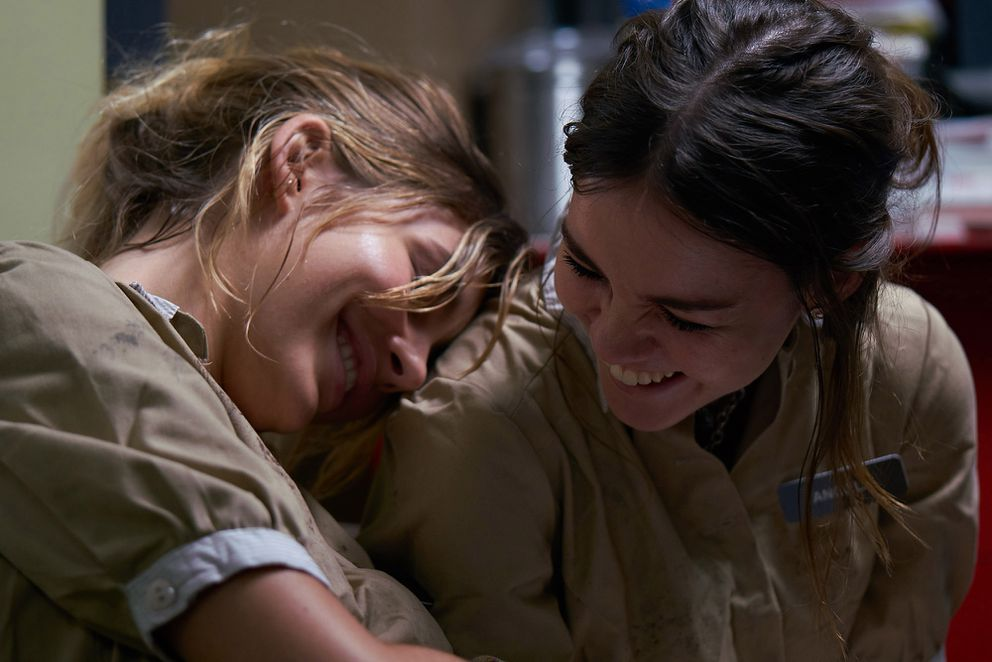 Camila Morrone, left, and Maia Mitchell play a pair of waitresses who hit some detours in a quest for a beach vacation. MUST CREDIT: Photo by Clay Grier-- A24