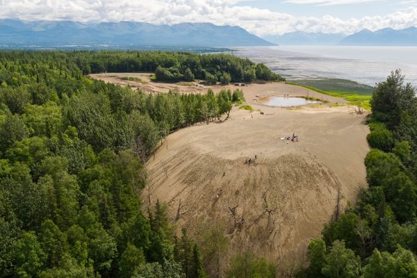 People enjoy the sand dune at Kincaid Park Tuesday, July 17, 2018. The active dune is composed of gravel and silt that was deposited when glaciers retreated over 10,000 years ago. (Loren Holmes / ADN)