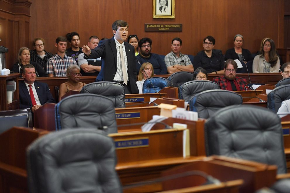 State Sen. Bill Wielechowski, an Anchorage Democrat, speaks in favor of lawmakers overriding Gov. Mike Dunleavy's budget vetoes Wednesday, July 10, 2019, Juneau, Alaska. Nearly a third of lawmakers were absent from the session at the Capitol, opting to meet in Wasilla instead, leaving only 38 members meeting in Juneau. It would take 45 votes to override the vetoes. (Michael Penn/Juneau Empire via AP)