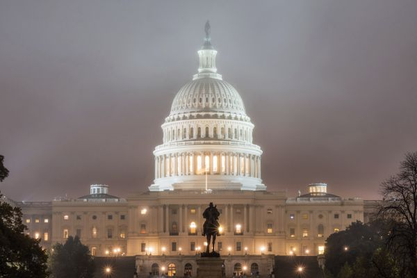 The U.S. Capitol Building in Washington is shrouded in fog early in the morning Tuesday, Nov. 6, 2018 on Election Day in the U.S. (AP Photo/J. David Ake)
