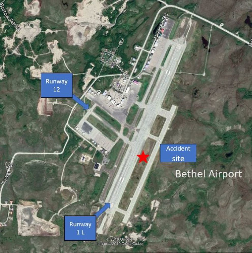 A National Transportation Safety Board image shows the layout of the Bethel airport and the spot a Grant Aviation plane crashed on July 8 2019.