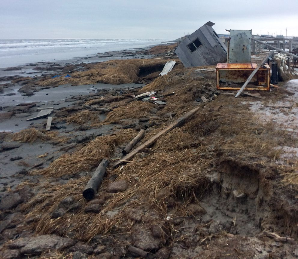 Roads and structures were heavily damaged in Shishmaref during a storm in the first week of November 2017. (Photo provided by City of Shishmaref)