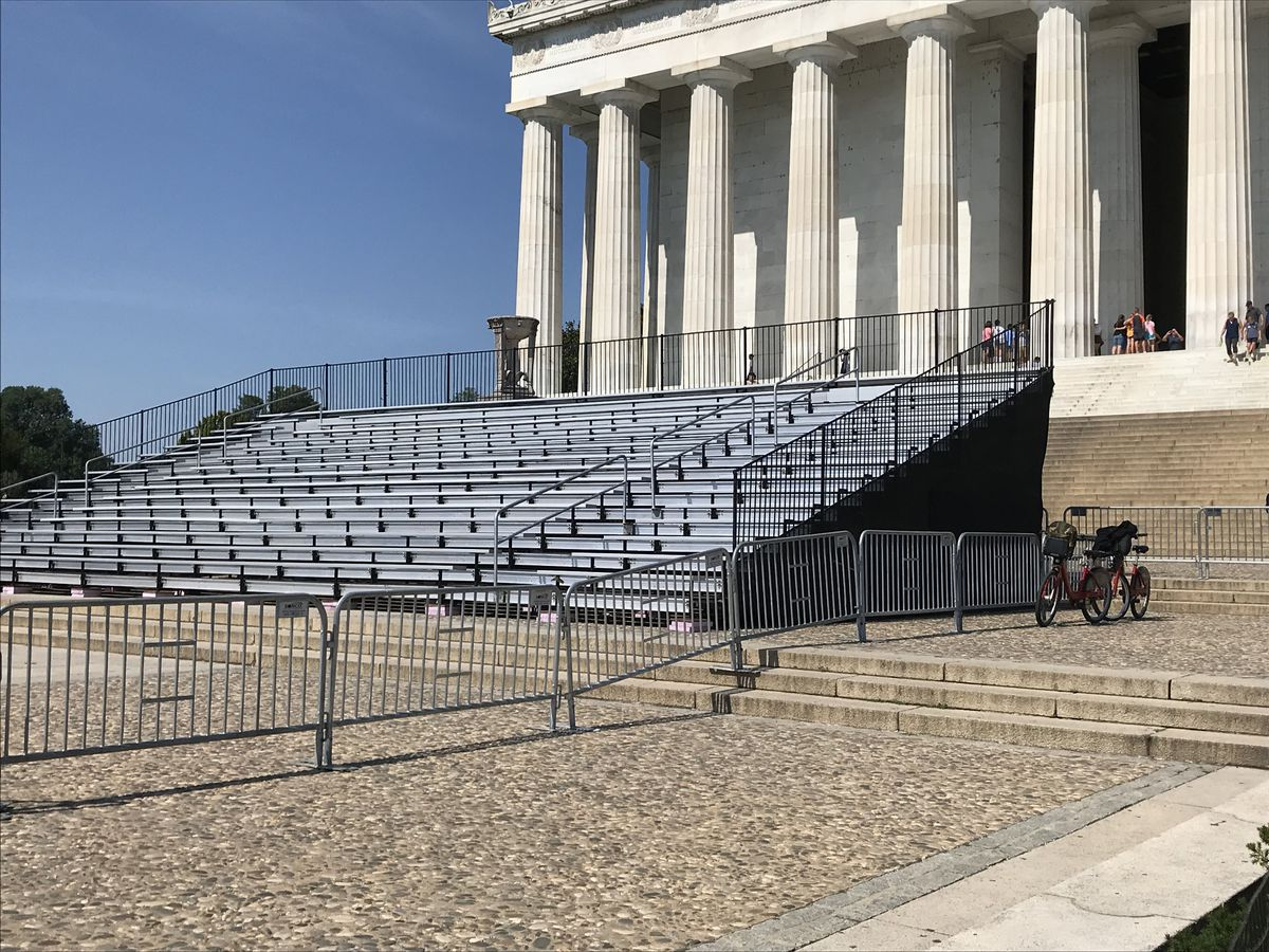 The stage and bleachers for President Trump's July Fourth address on the steps of the Lincoln Memorial on June 28, 2019. (Washington Post photo by (Michael E. Ruane)