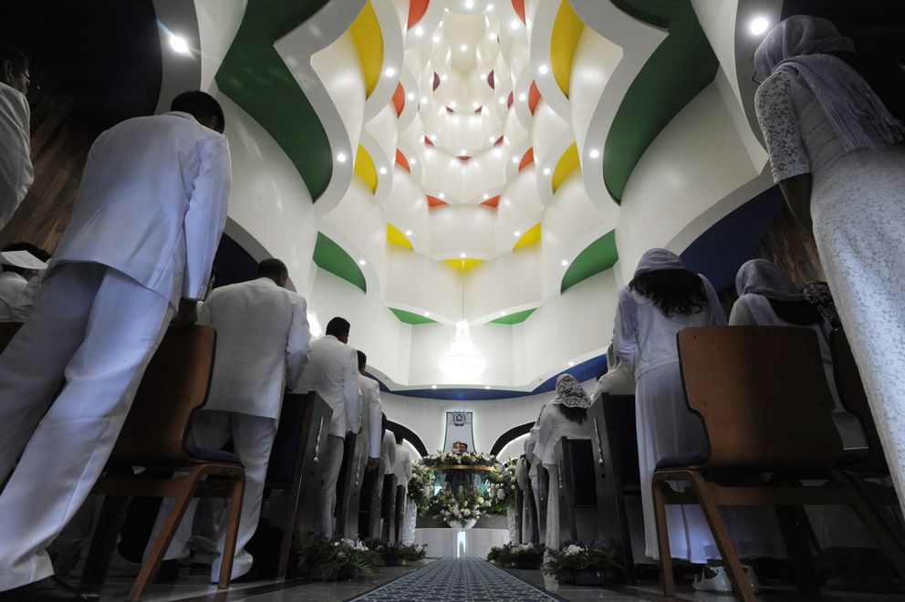 People gathered inside the La Luz del Mundo for the first time on Thursday evening. (Bill Roth / ADN)