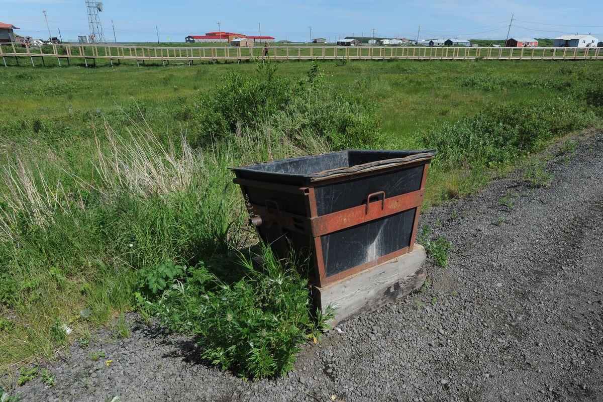 Honey bucket in the village of St. Michael on the Norton Sound in Western Alaska on Thursday, June 27, 2019. (Bill Roth / ADN)