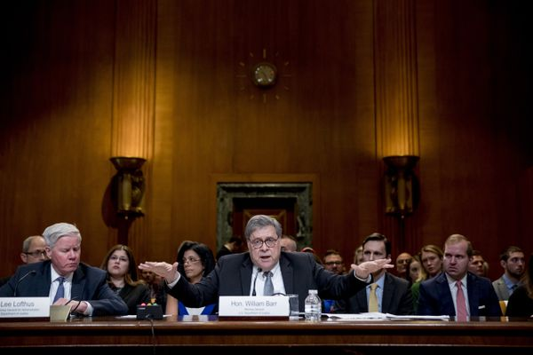 Attorney General William Barr reacts as he appears before a Senate Appropriations subcommittee to make his Justice Department budget request, Wednesday, April 10, 2019, in Washington. Barr said Wednesday that he was reviewing the origins of the Trump-Russia investigation. He said he believed the president's campaign had been spied on and he was concerned about possible abuses of government power. (AP Photo/Andrew Harnik)