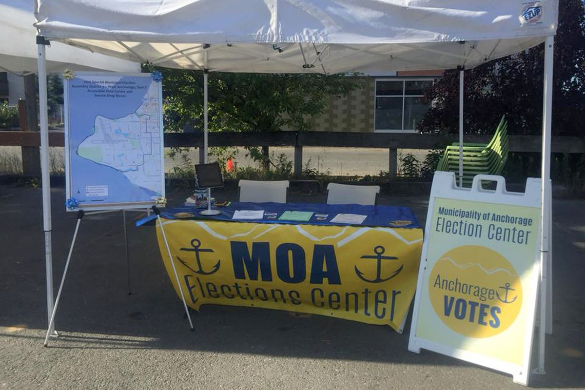 Elections officials had a booth at the Spenard Farmers Market for several Saturdays, trying to reach more voters for the Aug. 7 special election for the West Anchorage assembly seat. (Municipality of Anchorage)