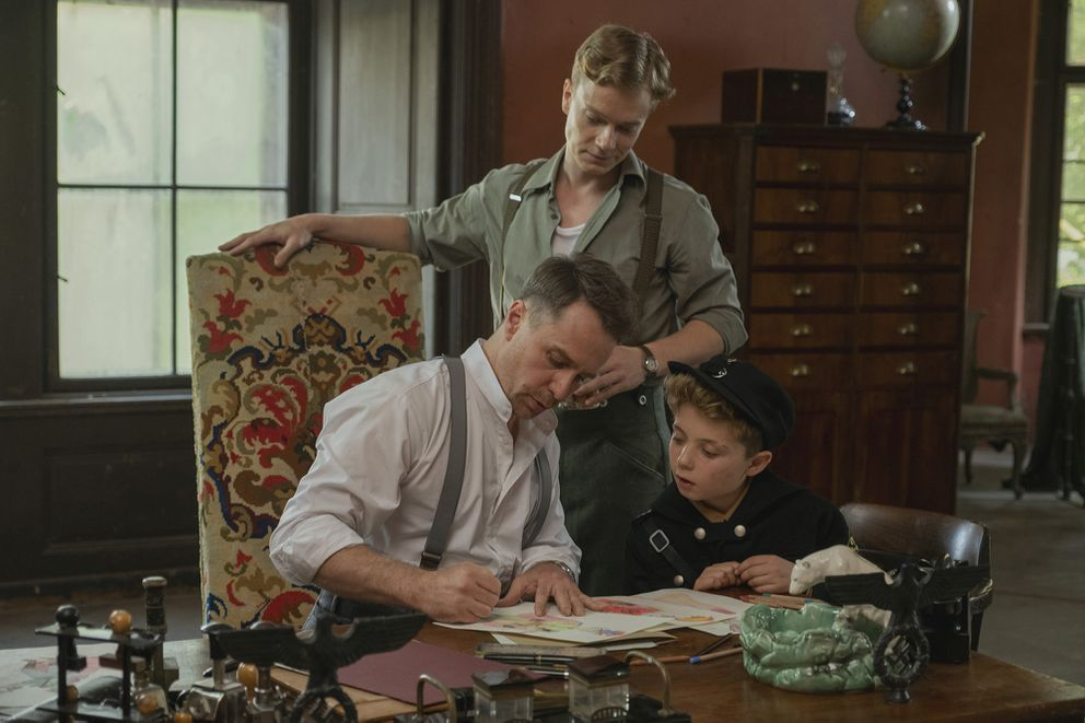 From left: Sam Rockwell, Alfie Allen and Roman Griffin Davis in the film 'Jojo Rabbit. ' MUST CREDIT: Handout photo by Larry Horricks/Fox Searchlight Pictures