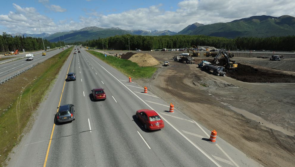 Work continues on the $41 million Glenn Highway and Muldoon Road interchange improvements on Tuesday, June 14, 2016. Work is expected to be complete in the summer of 2018. (Bill Roth / Alaska Dispatch News)