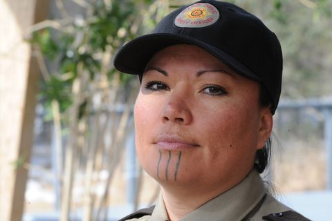 Sgt. Jody Potts is the V.P.S.O. coordinator for the Tanana Chiefs Conference on Thursday, April 5, 2018. (Bill Roth / ADN)
