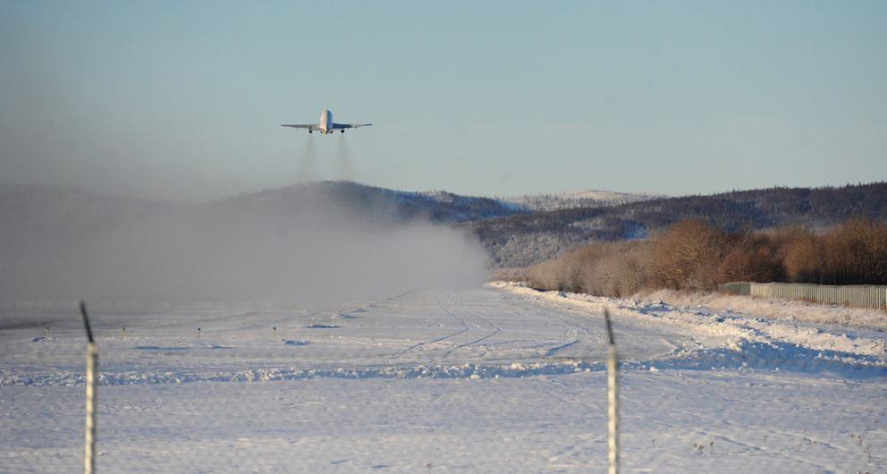 A Northern Air Cargo Boeing 737-200 takes off from the Aniak airport. (Bill Roth / Alaska Dispatch News)
