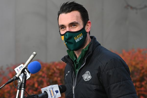 UAA Hockey head coach Matt Curley spoke during the fundraising press conference outside the UAA Sports Complex on Monday, Oct. 19, 2020. (Bill Roth / ADN)