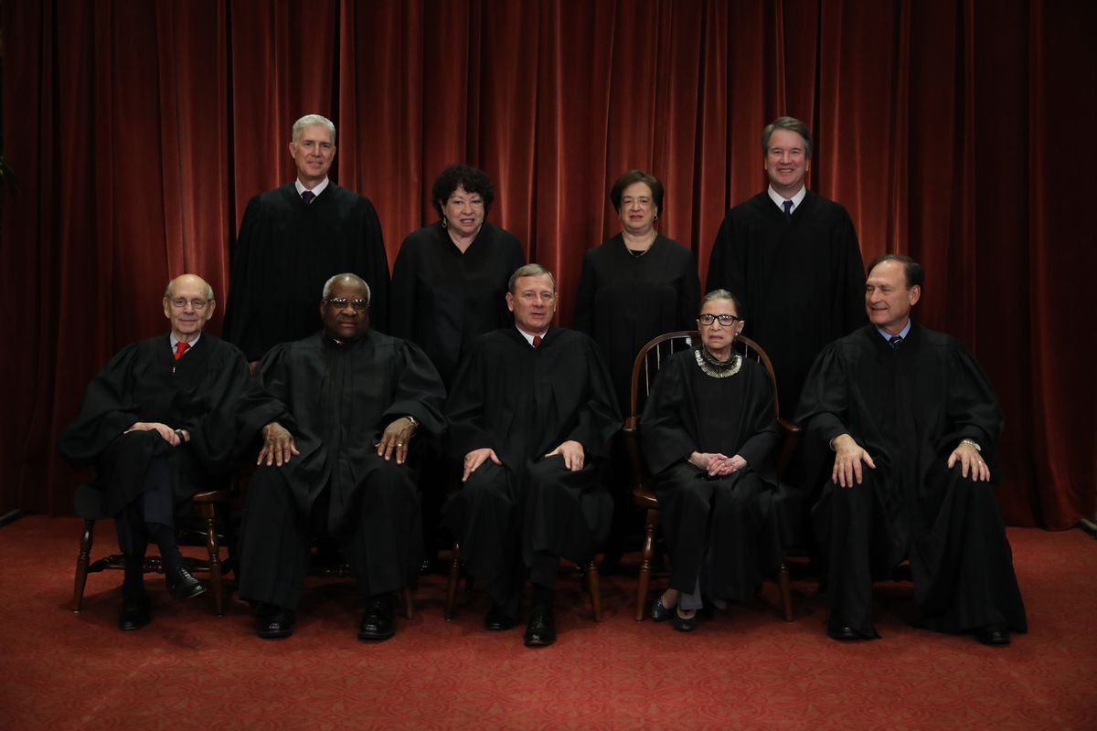 The Supreme Court opens its new term on Monday facing decisions on the Dreamers, LGBTQ rights, religion and abortion. United States Supreme Court (Front L-R) Associate Justice Stephen Breyer, Associate Justice Clarence Thomas, Chief Justice John Roberts, Associate Justice Ruth Bader Ginsburg, Associate Justice Samuel Alito, Jr., (Back L-R) Associate Justice Neil Gorsuch, Associate Justice Sonia Sotomayor, Associate Justice Elena Kagan and Associate Justice Brett Kavanaugh pose for their official portrait at the in the East Conference Room at the Supreme Court building November 30, 2018 in Washington, DC. (Chip Somodevilla/Getty Images/TNS)