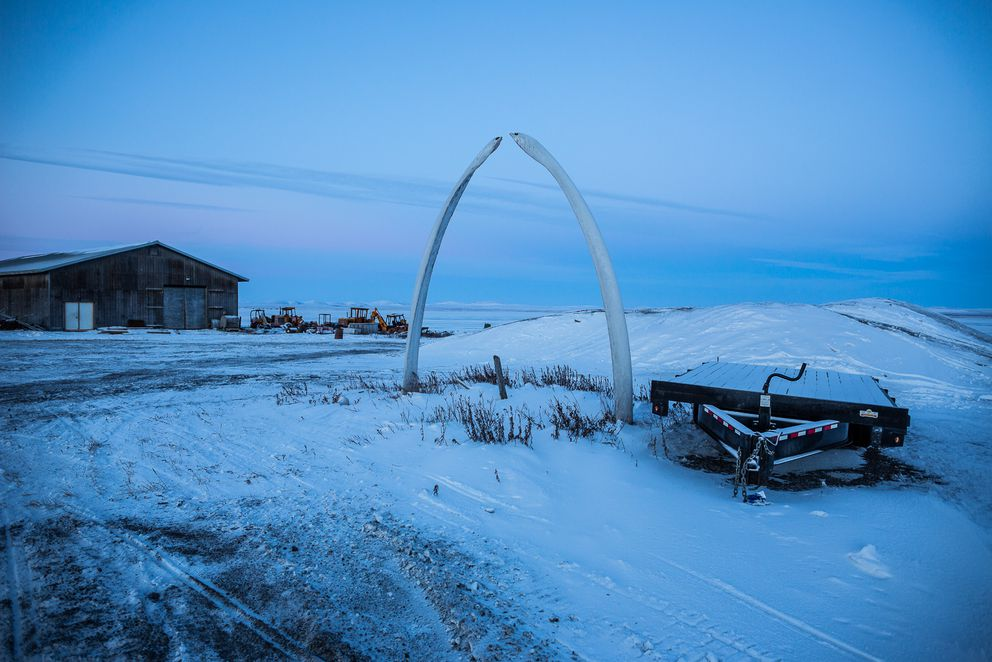 Bowhead whale bones greet visitors to the town of Kivalina in December 2012. (Loren Holmes / ADN archive)