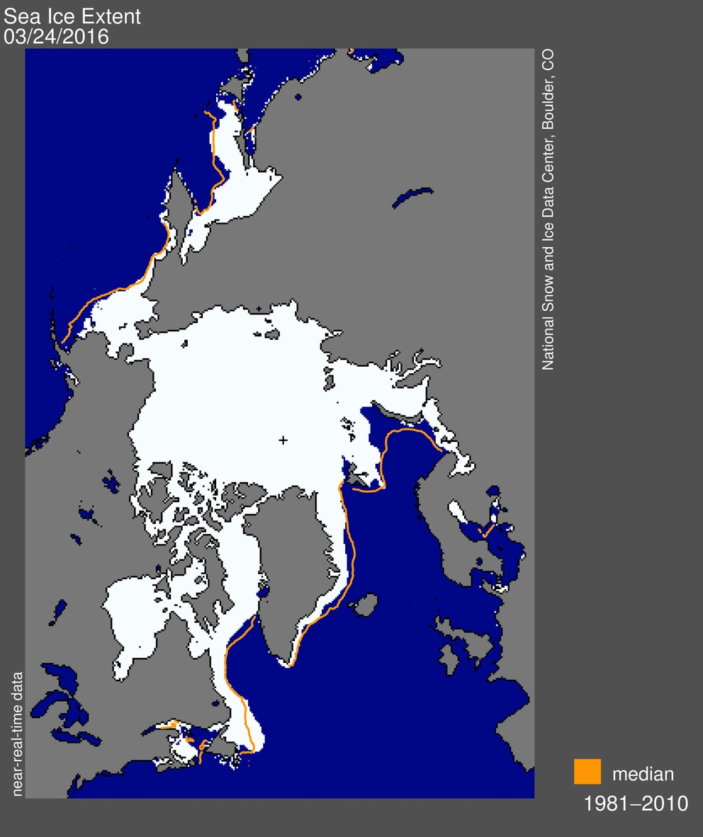 A map from the National Snow and Ice Data Center shows the extent of sea ice on March 24, when the ice reached its annual maximum. Barring an unlikely late surge, that extent represents a new low for the satellite era.