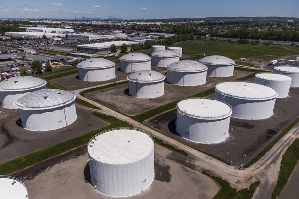 Storage tanks at a Colonial Pipeline Inc. facility in New Jersey. Less than two weeks ago, hackers brought down the largest fuel pipeline in the U.S. for five days, driving gasoline prices above $3 a gallon for the first time since 2014. MUST CREDIT: Bloomberg photo by Mark Kauzlarich