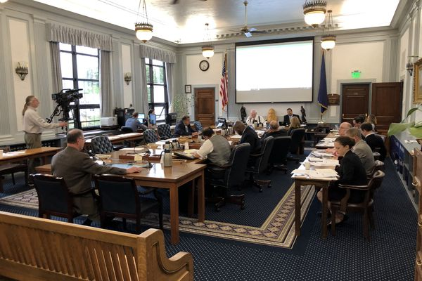 A meeting of the Senate Finance Committee is seen Thursday, July 18, 2019 in the Alaska State Capitol at Juneau. (James Brooks / ADN)