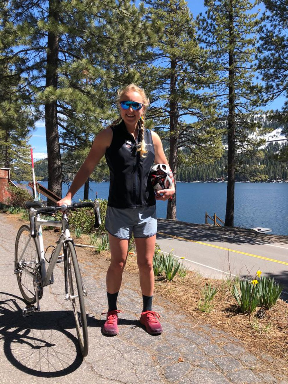 Part of Hannah Halvorsen's rehabilitation includes walks and bike rides that begin at Donner Lake near her family's home in Truckee, California. (Photo provided by Hannah Halvorsen)