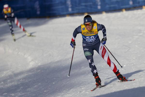 Rosie Brennan, of the United States, competes on her way to finishing second in a Tour de Ski, women's 10-kilometer freestyle, interval start cross-country ski event, in Dobbiaco (Toblach), Italy, Tuesday, Jan. 5, 2021 (AP Photo/Alessandro Trovati)